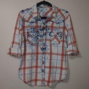 Lovestitch plaid western style jean shirt